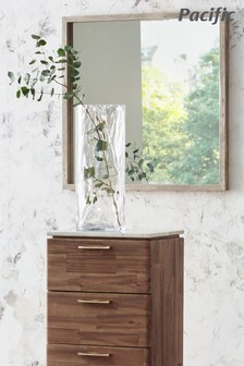 Concrete Effect Wood Veneer Square Wall Mirror by Pacific Lifestyle