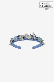David Charles Blue Pearl Roses Hairband