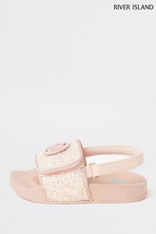 River Island Pink Glitter Sliders