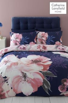 Catherine Lansfield Navy Dramatic Floral Duvet Cover and Pillowcase Set