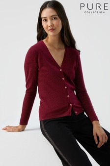 Pure Collection Red Cashmere V-Neck Cardigan