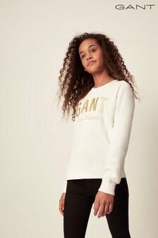 GANT White Shiny Crew Neck Sweater