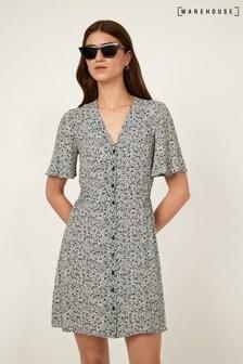 Warehouse Black Ditsy Floral Mini Dress