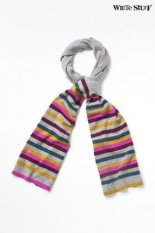 White Stuff Grey Cashmere Stripe Scarf