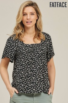 FatFace Black Myla Breeze Floral Top