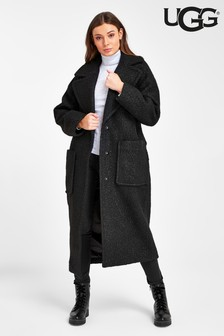 UGG Black Hattie Long Oversized Teddy Coat