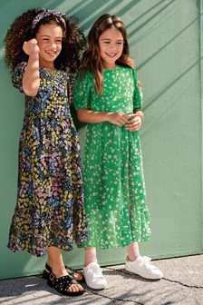 Printed Puff Sleeve Maxi Dress (3-16yrs)