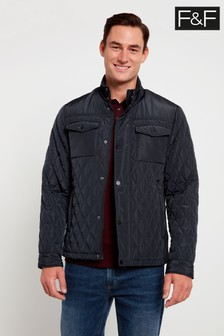 F&F Navy Diamond Quilted Coat