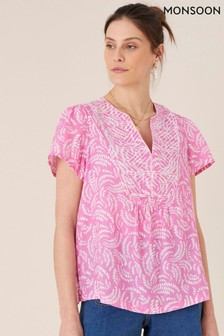 Monsoon Pink Embroidered Linen Top