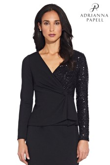 Adrianna Papell Black Sequin Crepe Top