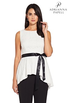 Adrianna Papell White Lace Peplum Top