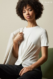 Ted Baker Cream Harieyy Twist Detail T-Shirt