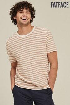 חולצה עם צווארון עגול ופסים של FatFace דגם Belstone בבז'