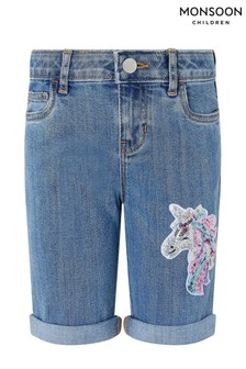Monsoon Blue Elouise Unicorn Sequin Shorts