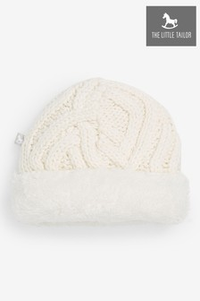 The Little Tailor Cream Plush Knitted Hat