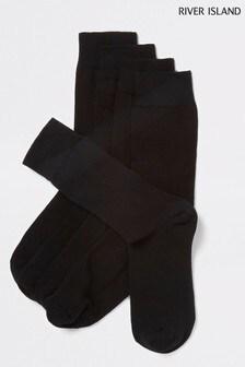 River Island Black Plain Socks Five Pack