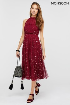 Monsoon Red Chiara Tulle Halter Sequin Midi Dress