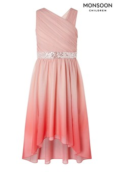 Monsoon Pink Abbey Dip Dye One Shoulder Prom Dress