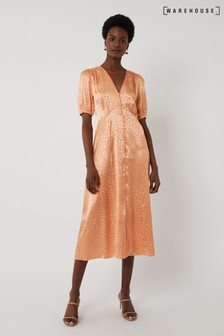 Warehouse Peach Satin Jacquard Midi Tea Dress