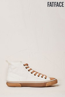FatFace White Organic High Top Lace-Up Trainers