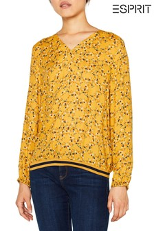 Esprit Yellow Blouse Top With Elastic Hem