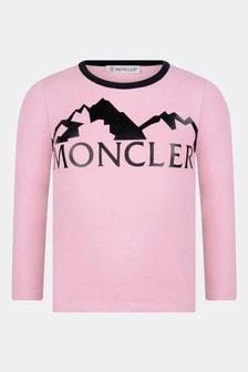 Girls Dark Pink Cotton Long Sleeve T-Shirt