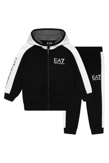 Boys Black/White Cotton Tracksuit