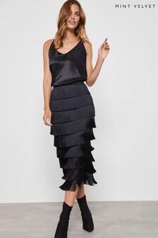 Mint Velvet Black Fringe Pencil Midi Skirt