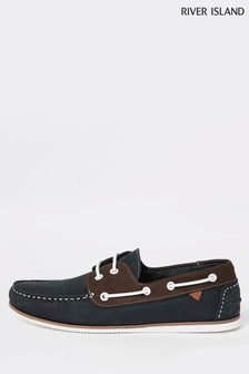 River Island Navy Noatie Mixed Boat Shoes