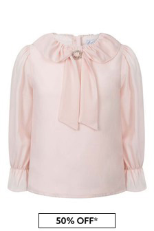 Girls Pink Chiffon Long Sleeve Blouse