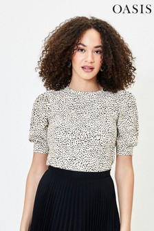 Oasis White Textured Crepe Piecrust T-Shirt