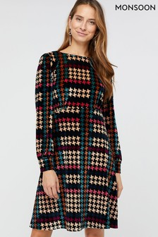 Monsoon Black Harriet Houndstooth Printed Velvet Dress
