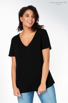 Live Unlimited Black V-Neck Slub T-Shirt