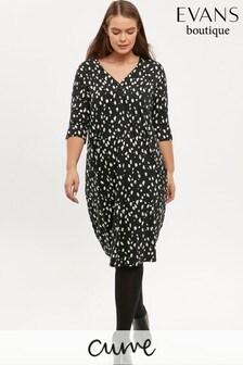 Evans Curve Black And White Print Pocket Dress