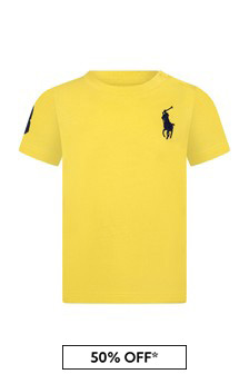 Ralph Lauren Kids Baby Boys Yellow Cotton T-Shirt