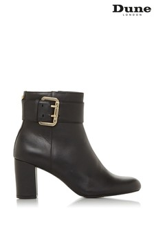 Dune London Black Octoba Leather Buckle Block Heel Ankle Boots
