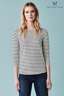 Crew Clothing Company White Essential Breton Top
