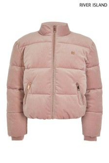 River Island Pink Cord Padded Jacket