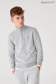 GANT Grey Casual Cotton Half Zip Jumper