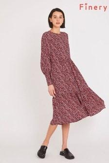 Finery Red Bella Tiered Midi Dress