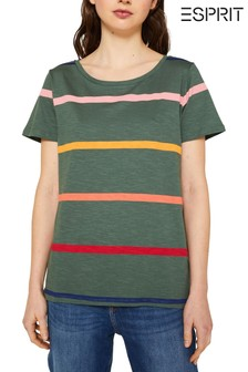 Esprit Green Contrast Stripped T-Shirt