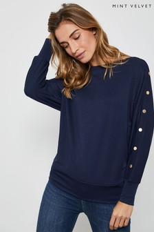 Mint Velvet Navy Studded Batwing T-Shirt