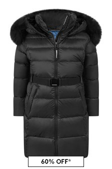 Freedom Day Girls Black Down Padded Hooded Coat