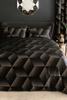 Black Metallic Foiled Duvet Cover and Pillowcase Set