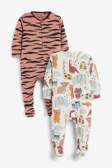 2 Pack Animal Print Zip Sleepsuits (0mths-2yrs)