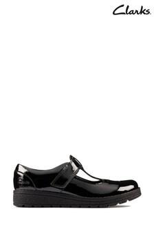 Clarks Black Patent Mendip Joy Kids Shoes