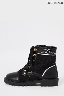 River Island Black Lace Hiker Cleated Boots