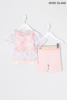 River Island Pink Light Active Mesh Crop Top And Leggings Set