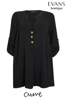 Evans Curve Black Buttoned Shirt