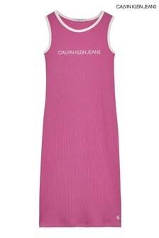 Calvin Klein Pink Institutional Logo Tank Dress